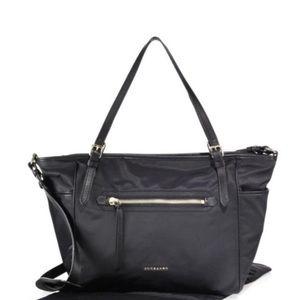 Burberry Black Nylon Diaper Bag with leather trim